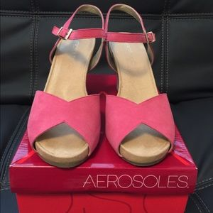 Aerosoles Pink Suede Pep Toe Wedges